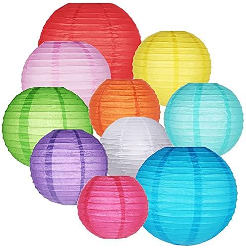 Bunte Papierlaternen, chinesische runde Laternen, Ballon, hängende Dekorationen für Geburtstag, Hochzeit, Babyparty, Heimdekoration, Decke, Partyzubehör (10,2 cm, 15,2 cm, 20,3 cm, 25,4 cm)