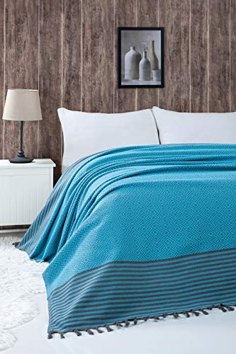 Belle Living Atil Tagesdecke Überwurf Decke - Wohndecke hochwertig - perfekt für Bett & Sofa, 100prozent Baumwolle - handgefertigte Fransen, 200x250cm (Turkis)