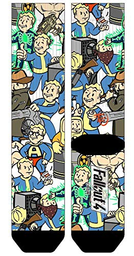 Fallout Vault Boy Collage All Over Print Crew Socks