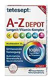 tetesept Vitamin A-Z Depot Tabletten – Nahrungsergänzungsmittel für eine umfassende Versorgung an Vitaminen, Mineralstoffen und Spurenelementen – 1 x 40 Depot-Tabletten
