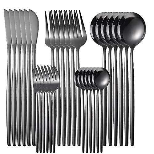 XKMY Juego de 30 cucharas, 6 unidades, 20 unidades, 4 piezas, juego de cubiertos de acero inoxidable dorado, cubiertos de cocina, utensilios de cocina, vajilla completa (color: negro 30 piezas)