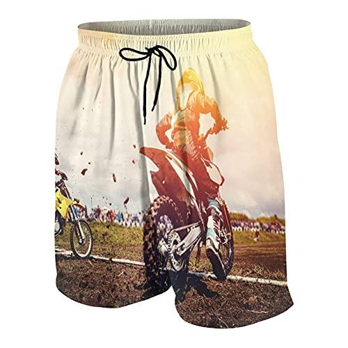 SUHOM Uomo Casuale Pantaloncini da Surf,Motociclo. Squadra Atleti su Motociclette Mountain Bike All'inizio Motocross,Costume da Bagno Sportivo Abbigliamento da Spiaggia con Fodera in Rete