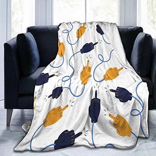 PANILUR Flanell Fleece Soft Throw Decke,Netter gelber und dunkelblauer Fick,für Sofas Sofa Stühle Couch Leicht,warm und gemütlich 153x127cm