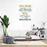 Bible Verses Print Peel and Stick Wall Decals Revelation 21:5 You Make All Things New Quote Wall Stickers for Bedroom Living Room Wall Art Home Decor Decal Sticker