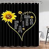 Sonnenblumen-Duschvorhang, gelbe Sonnenblume mit inspirierendem schwarzem Duschvorhang, schwarz-weiß Duschvorhang Sonnenblumen-Bad-Set, lustiges Duschvorhang-Set mit Haken, 178 cm