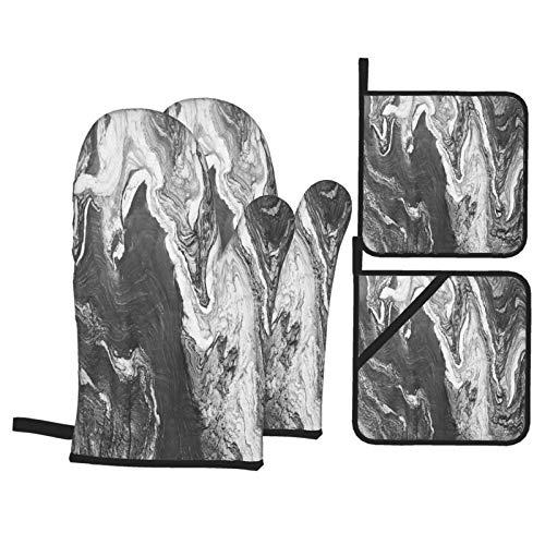 Juego de 4 Guantes y Porta ollas para Horno Resistentes al Calor Diseño de Capas de mármol de Textura de Granito Gris para Hornear en la Cocina,microondas,Barbacoa