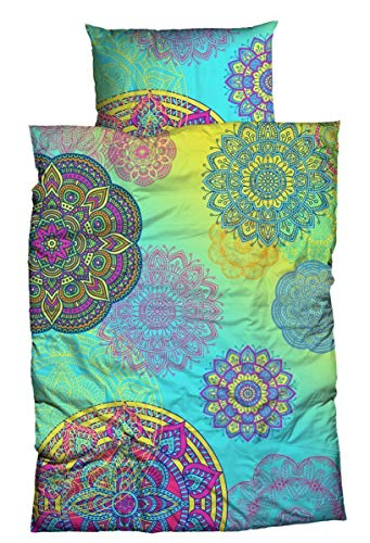 sister s. Baumwoll-Satin Bettwäsche Eivissa blau grün 135 x 200 cm Mandalas Ornamente absolut hip Bettwäsche-Set Regenbogenfarben