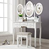 Unihome Vanity Table - Makeup Table with Tri-fold Mirror White Dressing Table Bedroom Makeup Vanity with Drawers for Women