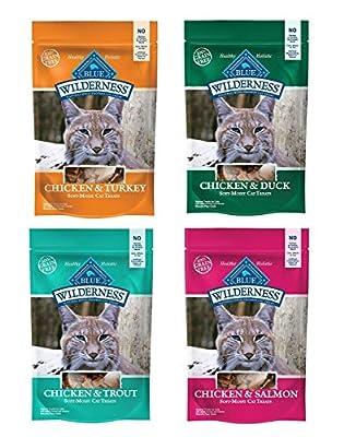 Blue Buffalo Wilderness Soft-Moist Grain-Free Cat Treats Variety Pack - 4 Flavors (Chicken & Duck, Chicken & Trout, Chicken & Salmon, and Chicken & Turkey) - 2 Oz Each (4 Total Pouches)