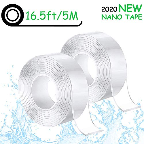 2er Pack Doppelseitiges Klebeband, extra starkes 5M nicht markierendes Nano-Klebeband, wiederverwendbare, entfernbare, waschbare transparente Klebebandstreifen für Teppich-Fotorahmen Küche