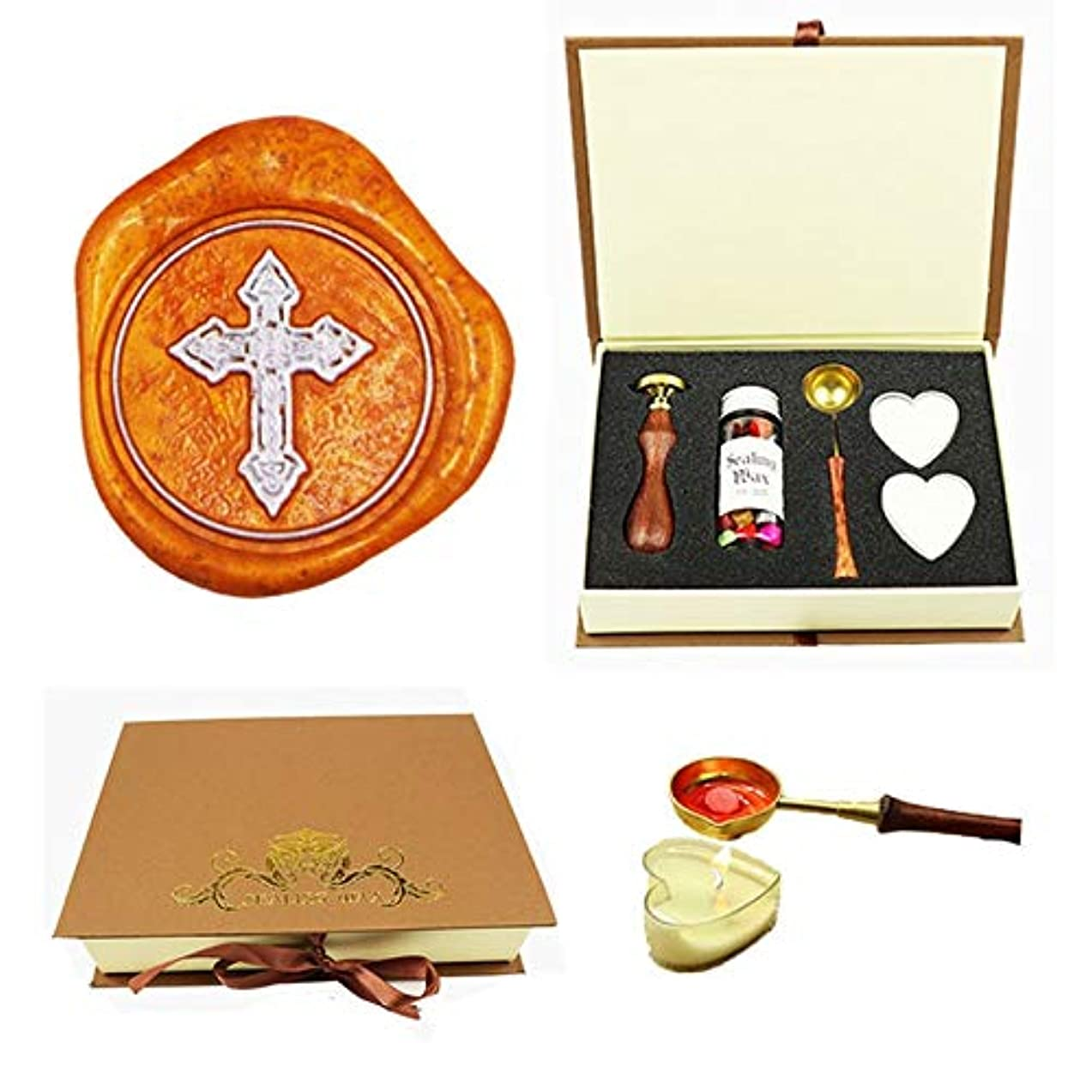Jesus Cross Wax Seal Stamp Kit, YGHM Gift Book Box Rosewood Handle Wax Beads Melting Spoon Set, Wedding Invitations Letters Vintage Seal Stamp