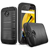 Moto E Case, (2nd Generation) 2-Piece Style Hybrid Shockproof Hard Case Cover + Circle(TM) Stylus Touch Screen Pen and Screen Protector (Black)