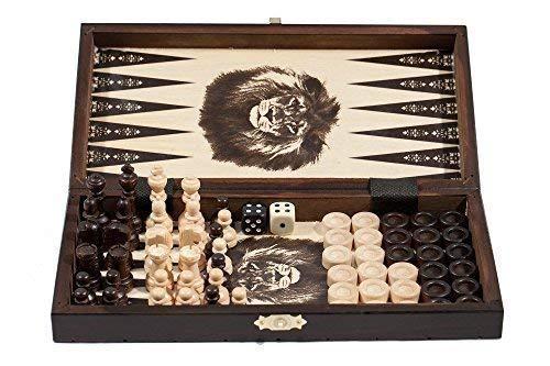 7.6cm 1 - Hölzernes Schach Backgammon Damespiel SET - KLEIN