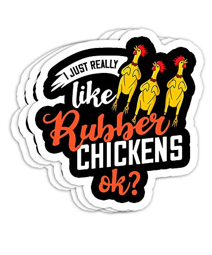 Rubber Chicken Screaming Costume Gift Decorations - 4x3 Vinyl Stickers, Laptop Decal, Water Bottle Sticker (Set of 3)