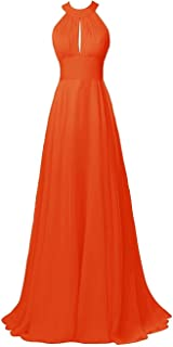 CladiyaDress Women Halter Neck Chiffon Floor Length Bridesmaid Dress Cocktail Gown D105LF