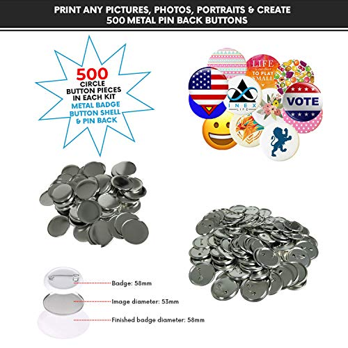 Metal PIN Back Button Parts {500pcs} - Additional Extra Button Maker Badge Making Machine Pieces - 58MM 2 ¼ INCH 2.28 INCH | 500 Metal Badge Button Shell & Pin Back