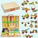 CYLYFFSFC Caja de herramientas de reparación de dibujos animados de madera para niños Desmontaje y montaje de bricolaje Herramienta de simulación de combinación de tornillos y tuercas Desmontaje de ju