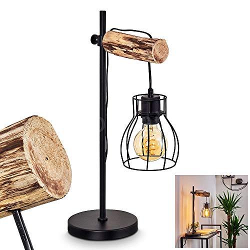 Tischleuchte Gondo aus Metall/Holz in Schwarz/Braun, Retro Tischlampe mit höhenverstallbarem Leuchtenschirm, E27-Fassung max. 40 Watt, Lampe für Büro u. Schreibtisch in Gitter-Optik, LED geeignet