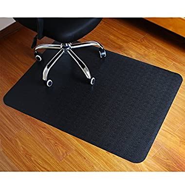 Polytene Office Chair Mat, 47 x35 ,Hard Floor Protection Only with Rectangular Shaped Anti Slide Coating on the Underside, 1.3mm Black