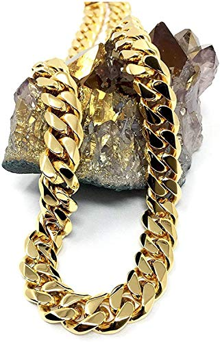 18K Gold Cuban Link Chain Necklace for Men/Women Real 12MM 18K Diamond Cut Heavy w Solid Thick Clasp Hip Hop (22)