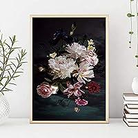ウォールアートキャンバスポスターフラワーボタニカルノルディックフローラルペインティングミニマリストプリント画像スカンジナビアの家の装飾60x90cmフレームレス