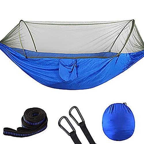 SHARESUN Camping hangmat met muskietennet, dubbele hangmat outdoor ultra licht draagbare ademende anti-muskietenparachute nylon met karabijnhaak en boomriem 2 personen camping wandelen