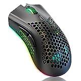 Ratón inalámbrico para Juegos, ratón de computadora con Carcasa de Panal, 6 Botones programados, 3 dpi Ajustables, Clic silencioso, Receptor USB, ergonómico ratón óptico RGB para computadora portátil