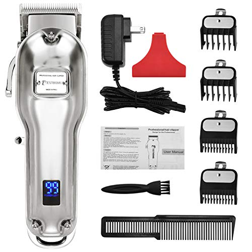 BESTBOMG Professional Cordless Haircut Kit Clippers for Men Rechargeable Beard/Hair Trimmer Set LED Display Stainless Steel Metal Housing Heavy-Duty Motor for Women/Kids/Men with Guide Combs Brush