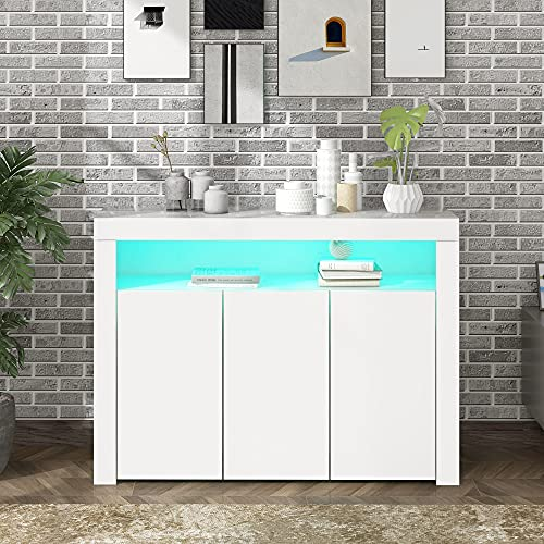 High Gloss White Sideboard Display Cabinet with LED Lights, Modern 3-Door Wood Buffet Cupboard Storage Unit with Remote Control for Kitchen Living Room Dining Room Hallway