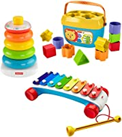 Fisher-Price Classic Infant Trio, gift set of three baby toys for stacking, sorting and musical play