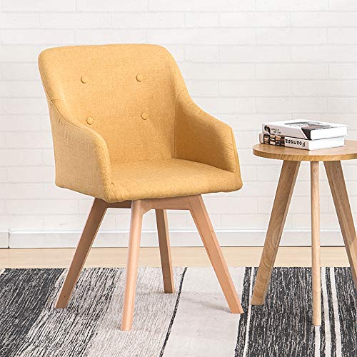 Modern Style Armchair Mid-back Swivel Chair for Living Bedroom,Ergonomic Dinner Chair,Home Office Chair Upholstered Computer Chair Ergonomic Reception Chair with Solid Wood Legs-Yellow 43x43x80cm(17x1
