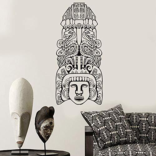 HNXDP Nord-Américain Aztèque Totem Pôles Musée Vinyle Autocollant Mural Intérieur Chambre Décoration de La Maison Peintures Murales Amovible Stickers Papier Peint 3785 57x123 cm