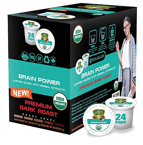 SOLLO Brain Power Dark Coffee Pods MCT, Acai & Vitamins B1, B5, B6, B9, B12, D3 Nootropic Brain Booster- Improves Memory & Focus Compatible with 2.0 K-Cup Keurig Brewers, 24 Count