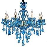 Lampada da soffitto per sala da pranzo Lampadario a candela in cristallo blu Lampada da soffitto in vetro Lampada a sospensione per camera da letto Lampada da soggiorno