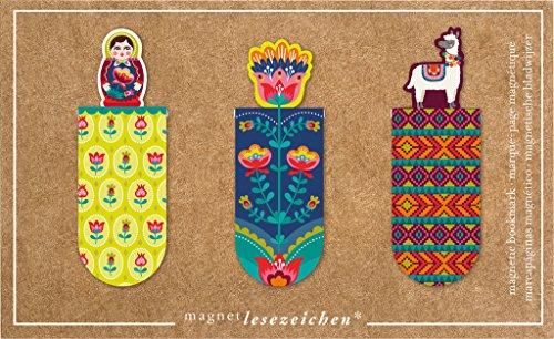 moses. 31134 Magnetlesezeichen Folklore 3er Set, magnetisches Lesezeichen, charmant illustriert