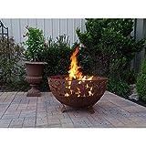 Esschert Design USA Leaf Metal Fire Pit/Bowl Feuerschale aus Metall mit Blatt-Design, Rust