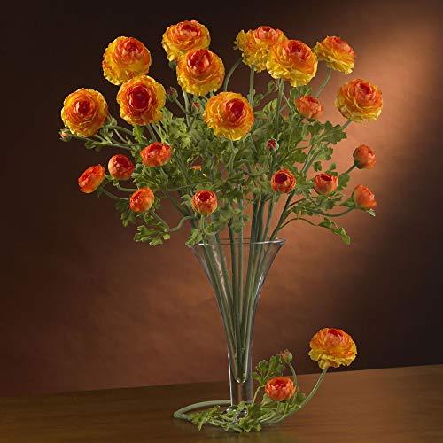 Nearly Natural 2108-OR 23″ Ranunculus Stem (Set of 12) Orange Silk Flower Arrangements