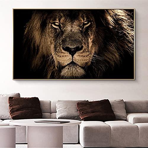 Grandes carteles de lienzo de arte de pared con cabeza de león africano e impresiones de animales pinturas en lienzo artístico en la pared cuadros decoración del hogar Cuadros 20x35 CM (sin marco)