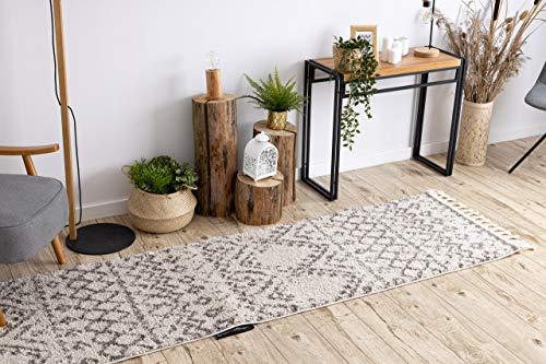 Loper, pluizig tapijt BERBER ruig, franje, Marokkaanse stijl, voor de keuken, hal, gang, RABAT creme 60x300 cm