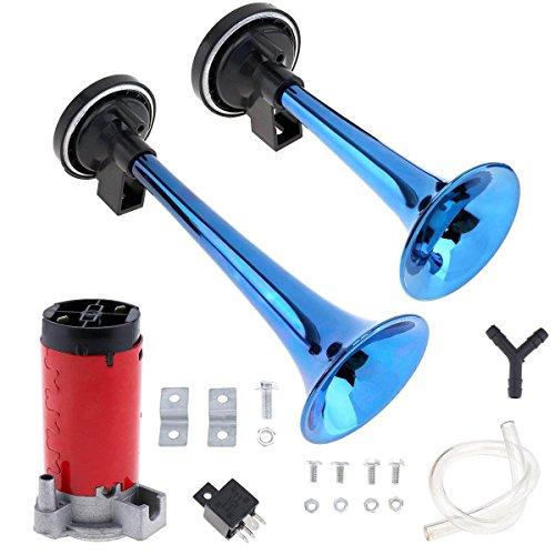 WElinks tromba, Dual trombe clacson 12V 178DB forte Dual Tone set tromba clacson con compressore kit per auto camion moto veicoli