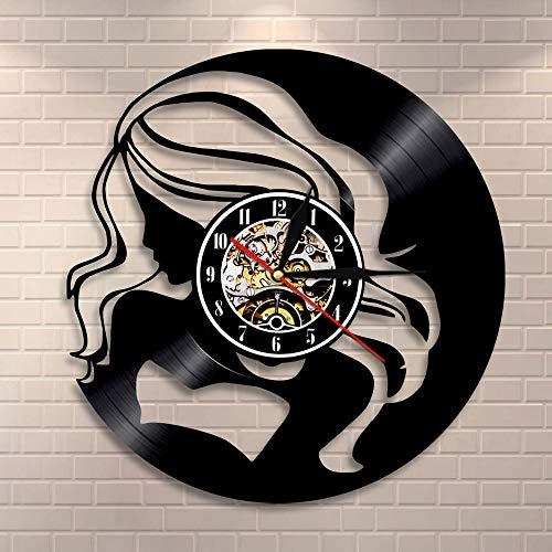 BFMBCHDJ Hipsters Long Hair Lady Wall Clock Fashion Shopping Girl Vinyl Record Clock Exotic Lady Wall Art Modern Wall Clock Gift For Her