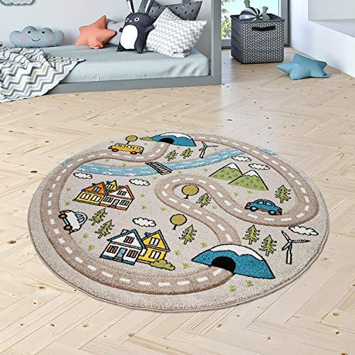 Kinderzimmer Kinderteppich Teppich Rund Kurzflor Straßen Muster Modern Pastell, Grösse:120 cm...