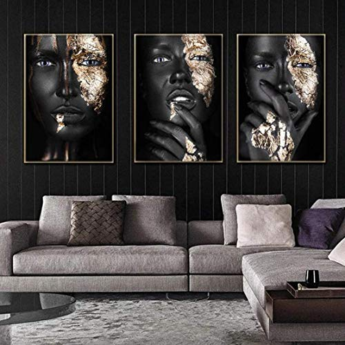 Verve Jelly 3Pcs Print on Canvas African Art Black and Gold Woman Oil Painting on Canvas Posters and Prints Waterproof Wall Art Picture for Living Room Home Decor,No Frame 50 * 70CM