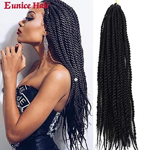 6 Packs Eunice Synthetic Crochet Braids 18 Zoll Soft Hair Senegalese Twist Crochet Braids Havana Mambo Hair Extension 30 Roots/Pack (#1B)