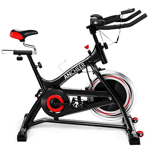 ANCHEER Indoor Cycling Bike Stationary, 40 lbs Flywheel Exercise Bike with Heart Rate, Quiet Smooth Belt Drive System, Adjustable Seat and Handlebars & Base Ancheer belt Bikes Exercise flywheel indoor quiet