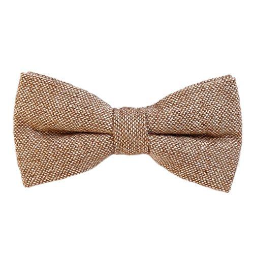 DonDon Herren Fliege 12 x 6 cm Baumwolle gebunden und längenverstellbar hellbraun weiß