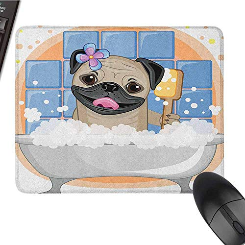 Pug Customized Personalized Gaming Mouse pad Caricature of a Dog Having Bath Bubbles Colorful Flower Funny Animal Beautiful Printing W15.7 x L23.6 x H0.8 Inch Pale Blue Black Pale Brown