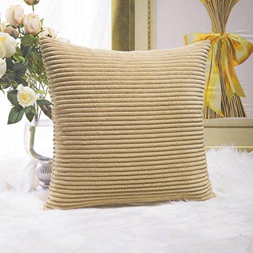 Home Brilliant Striped Corduroy Textured Velvet European Sham Throw Pillowcase for Bed Sofa, 24 x 24 inch (60cm), Taupe