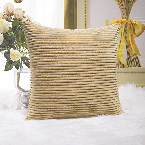Home Brilliant Decorative Soft Velvet Corduroy Striped Square Throw Pillow Cushion Cover for Bench, 18 x 18 inch (45cm), Taupe