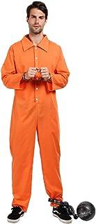 ReneeCho Men�s Prisoner Costume Halloween Orange Jumpsuit Jailbird Inmate Shirt